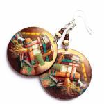 Book Earrings - decoupage -..