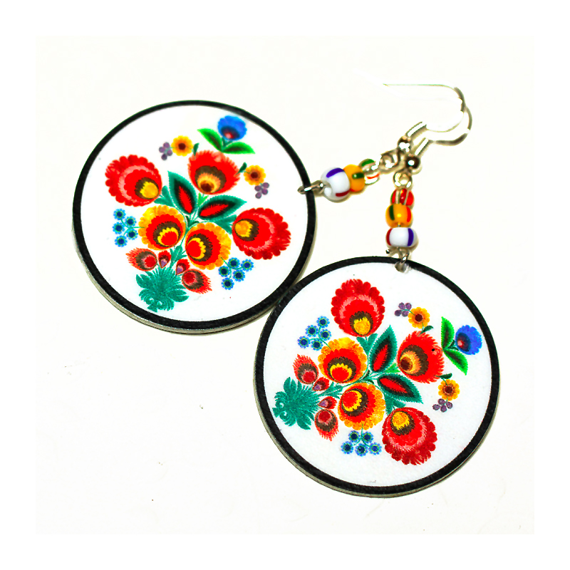 Folk Flowers polish folk art motif Earrings - Decoupage Earrings - white orange red yellow - double faced