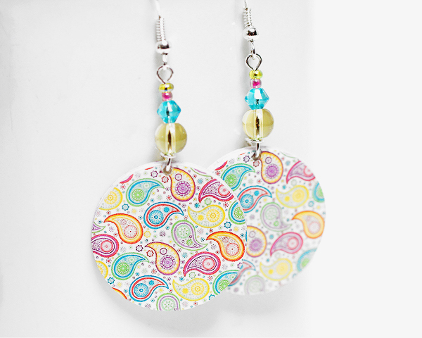 Paisley Earrings - Pastel palette - Medium size 3cm  - double faced
