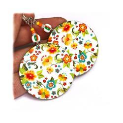 Cute girly Little Flowers - white yellow green orange - double faced