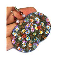 Meadow Flowers Lilac violet blue red Round - decoupage earrings - double faced