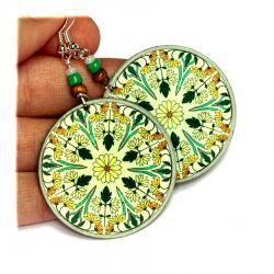 Wildflowers Ornament Earrings Dark green yellow rusty Round - decoupage earrings - double faced