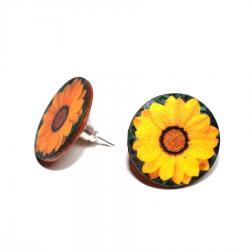 Yellow Sunflower Post Earrings