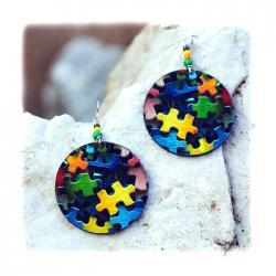 Clolorful Puzzle decoupage earrings - yellow navy blue green pink - double faced